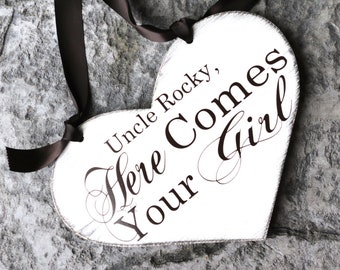 Uncle, Here Comes Your Girl. 11 1/2 X 14 1/2 inch, 1-Sided, Vintage Heart Wedding Signs.