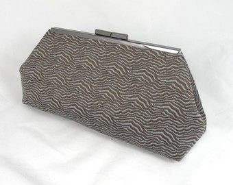 Jacquard woven brown teal wave pattern clutch lined with contrast color faux silk - Framed Clutch-  Purse - Bag