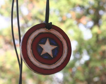 Captain America necklace, wood, jewelry tube necklace, one