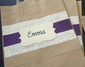 5 Large Bridesmaid Gift Bags - 8x10 Personalized You pick the color