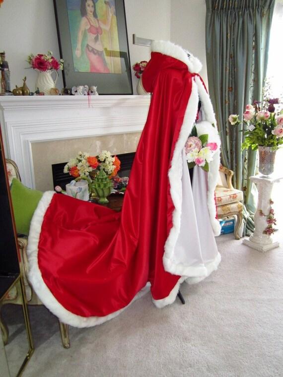 Valentine Bridal cape 73 inch wedding cloak RED / White Satin with fur  trim Handmade in USA