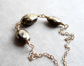 Pyrite Nugget Necklace, Faceted Pyrite Oval Necklace, Fools Gold Gemstone, Gold Filled Chain Necklace, Gemstone Jewelry