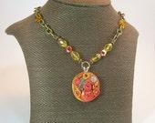 Clockwork (Orange) Medallion Necklace