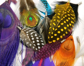 Feather Pendants - A Grab Bag of Possibilities PIF (10 pieces per bag) for hair extensions, necklaces, boutonnieres, and earrings