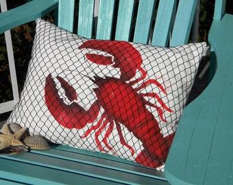 LOBSTER NETTED LUMBAR pillow 15x20 coastal ocean marine crustacean seafood surf and turf indoor outdoor Crabby Chris Original