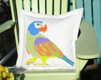 "Outdoor pillow parrot tropical colors multicolor 20"" (50cm) jungle African Grey flambuoyant pet bird Crabby Chris Original"
