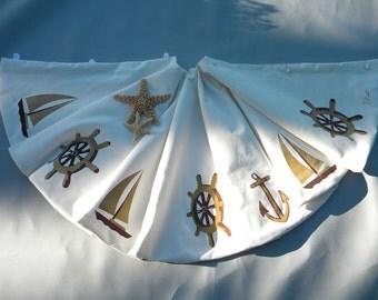 "LTD EDITION Nautical Christmas tree skirt 52"" ship's wheel anchor sailboat yacht sailing coastal captain gold sand Crabby Chris Original"