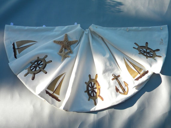 "LTD EDITION Nautical Christmas tree skirt 54"" ship's wheel anchor sailboat yacht sailing coastal captain gold sand Crabby Chris Original"