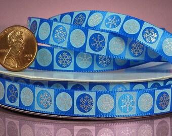 """3/8"""" Christmas Blue Snowflake Ribbon"""