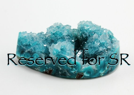 Reserved For SR Only  Blue Chrysocolla With Quartz Drusy Cabochon