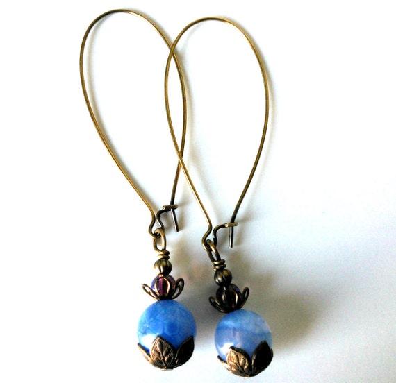 Blue Agate, Copper Long Kidney Wire Hooks, Sky Blue, Light Blue, Light Purple Glass Earrings