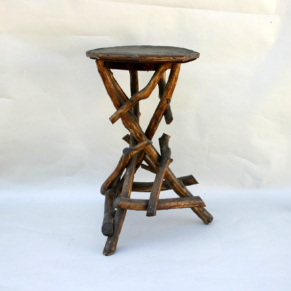 Vintage Plant Stand / Twig Side Table / Rustic Cabin Table