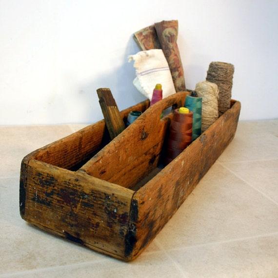 Rustic Wood Tool Caddy / Vintage Tote
