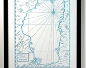 Lake Tahoe Basin Letterpress Printed Map (Blue)