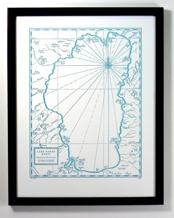 Lake Tahoe Basin Letterpress Printed Map (Blue)