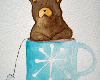 Brown Bear, original watercolor, bear in tea cup, blue, snowflake, winter, small art, beverage, kitchen art