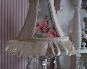 Romantic Cottage Lamp Shade,Vintage Ribbon, Gimp Trim,    ECS