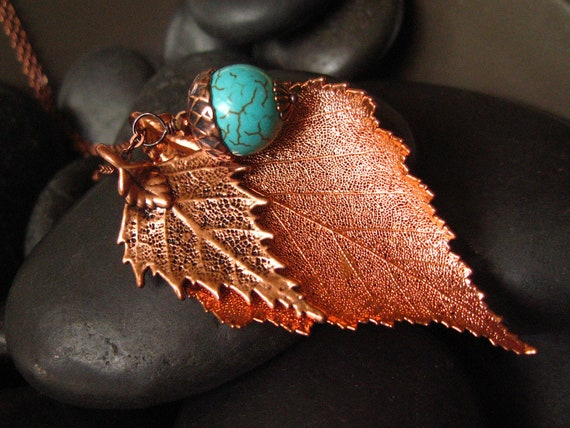 Leaf Necklace Real Leaves in Antique and Bright Copper, Birch Leaf Necklace, Turquoise Acorn