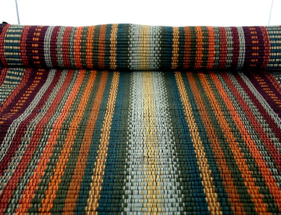 rag rug runner in sage and orange / kitchen rug 2' x