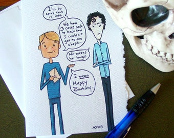 Sherlock Belated Birthday Card - BBC - Holmes and Watson