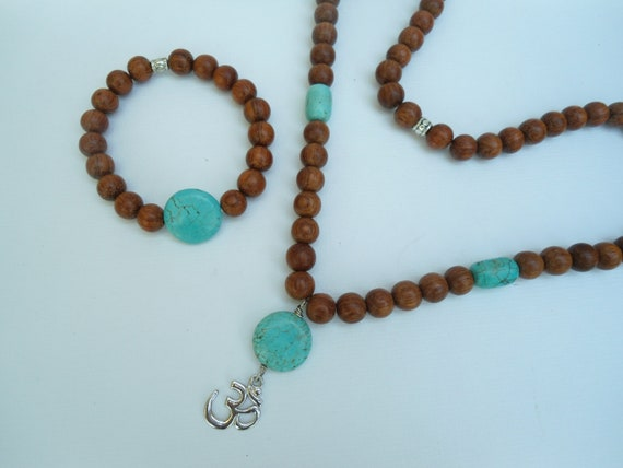 RESERVED For Ester Half Mala Necklace  Turquoise Howlite, Pewter Aum Om Yoga Jewelry Meditation Jewelry Buddhist Meditation