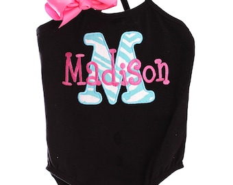 Custom Personalized Initial Letter Name Applique Leotard Design Your Own