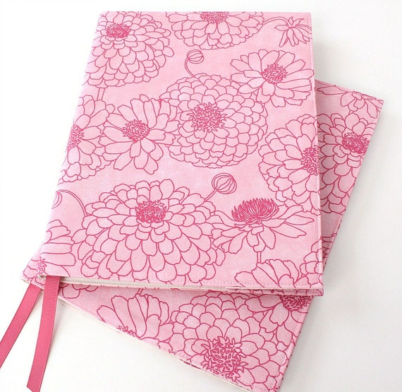 Teacher gift - notebook cover - fabric journal cover for composition notebooks - Pink Floral (LAST ONE)