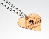 Mixed Metal Necklace - Heart Pendant - Garnet Gemstone - Fold Formed - Unique Pendant - Valentines Day