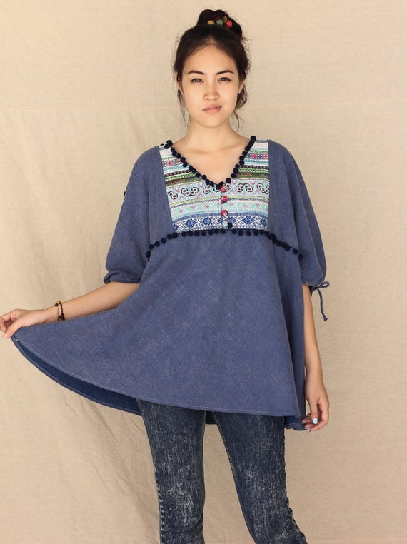 Hippy Holiday in blue...100 percent cotton oversize blouse