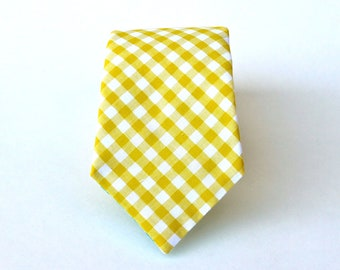 Mens Tie - Yellow Gingham Mens Tie - Yellow and White Check Mens Necktie - Yellow Gingham Ties