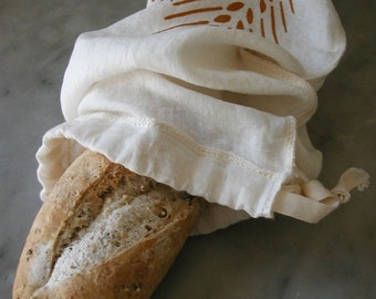 Organic Linen Drawstring Baguette Bread Bag- Hand Screen Printed with Wheat Design - Cloth Bread Bag