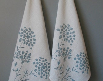 Cloth Napkins- Organic Linen Napkins- Queen Anne's Lace- Set of Two Seconds- Sale- Screen Printed