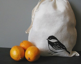 Produce Bag - Organic Linen - Drawstring Bag -Screen Printed - Chickadee - Holiday Gift Bag