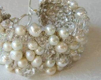 Bridal Wedding Pearl Crystal Statement Cuff Bracelet, SOFT & PURE  WHITE Freshwater, Baroque, Unique  Hand Knit  Exclusive, Sereba Designs