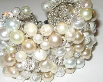 Modern Bride Freshwater Ivory White Pearl Crystal Statement Bracelet Cuff, Baroque Silver Glitter Beads, Hand Knit Exclusive Sereba Designs