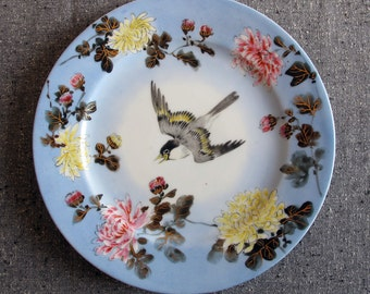 Plate Chinese Handpainted 1910s Bird Starling Pinfeathers in Flight Chrysanthemum Asian