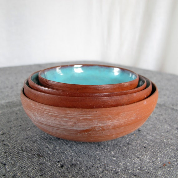 Signed Studio Pottery 1950s Nesting Bowls Set of 4