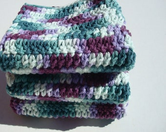 Crochet, Crocheted, Jewel Tone Dishcloths - Set of Three Dishcloths, Dish Cloths - Jewel Tone Teal and Purple Variegated - Hoooked