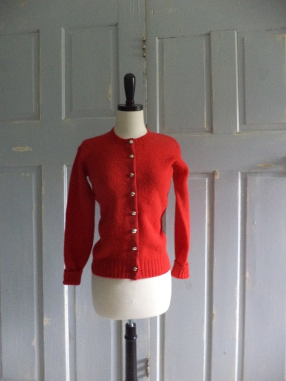 1960s Red Vintage Sweater Cardigan 60s Button Up Gold Buttons Size Small