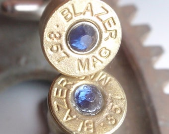 Bullet Jewelry Cufflinks 357 Magnum With Color Rhinestone Gem Up Cycled  Repurposed Cuff Links
