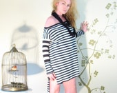 Off Shoulder Over Sized Boxy Long Sleeved Sweater/Tunic/Dress Hi/Lo Hem in Stripes - (XS - XL One size fits most) - Made to Order