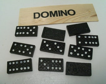 20, Dominos, Miniture, Wood, Black and White, Game Pieces, Poka-dots