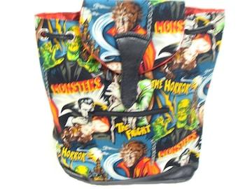 Backpack Handbag Frankestien Monsters Horror Pattern Robert  Kaufman Cotton  Fabric, NEW