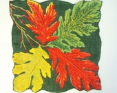 Large Handkerchief Red Yellow Green Leaves Vintage
