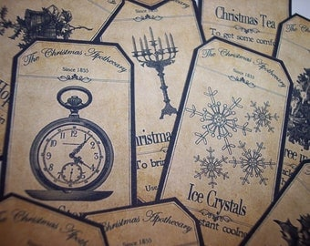 Christmas Steampunk Apothecary Labels Set of 15