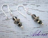 Gray Swarovski Crystal and Sterling Silver Earrings