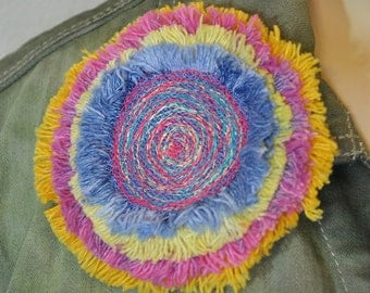 Dyed Fringed Denim Brooch PIN CLIP - Lilac, Yellow, Pink and Gold Denim Circle Corsage Brooch Pin - 57