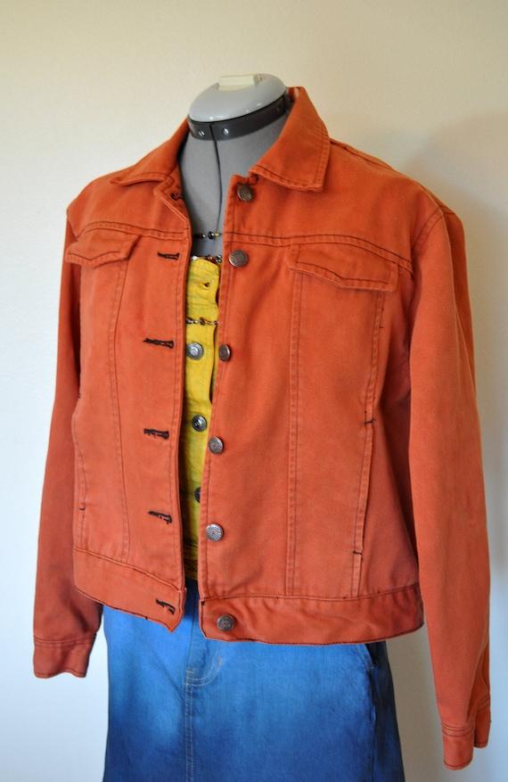 Orange Medium Denim Jacket Burnt Orange Hand Dyed Upcycled