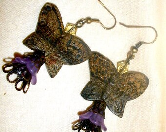 Stone butterfly earrings with Czech crystals and purple flower beads