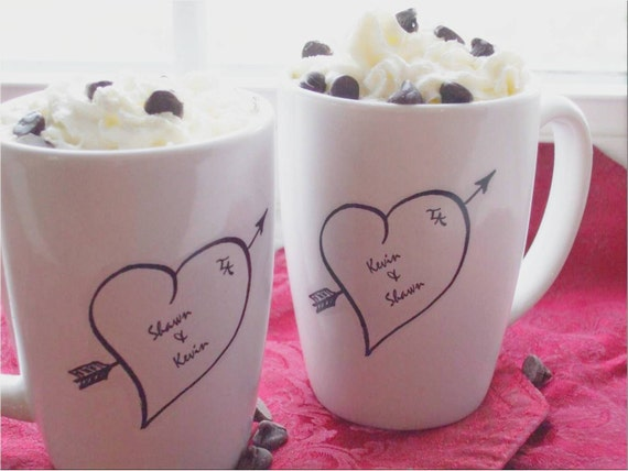 Valentine Couples Gift, Personalized Mugs, Sweethearts, Personalized Gift, Wedding, Anniversary Gift, Heart Mugs (set of 2)